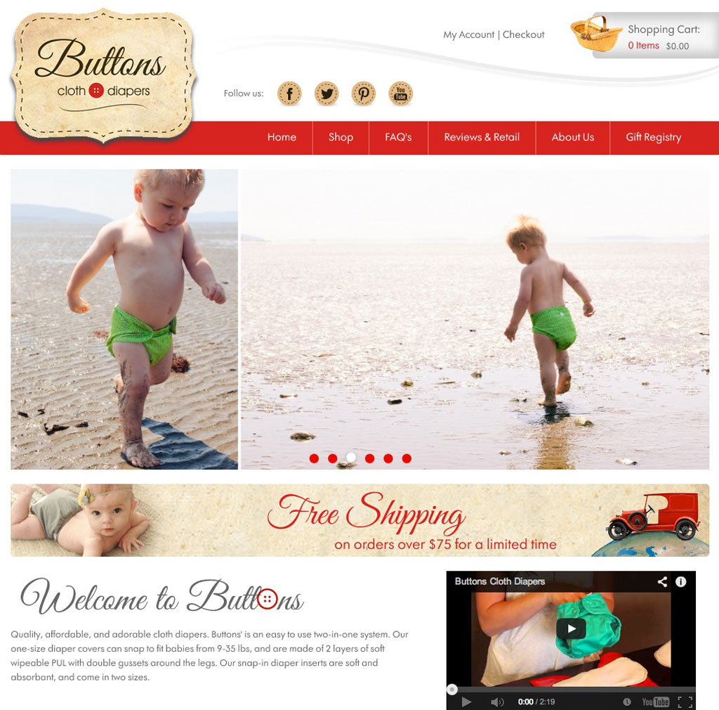 Buttons Clothes and Diapers website