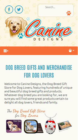 CoreCommerce Canine Designs Theme preview — Mobile
