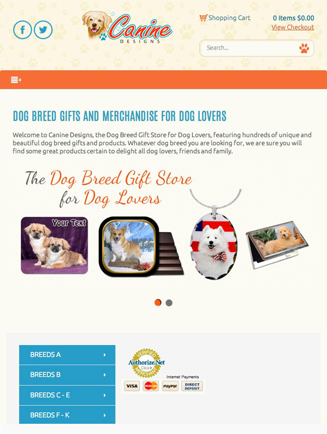 CoreCommerce Canine Designs Ecommerce Theme preview — Tablet