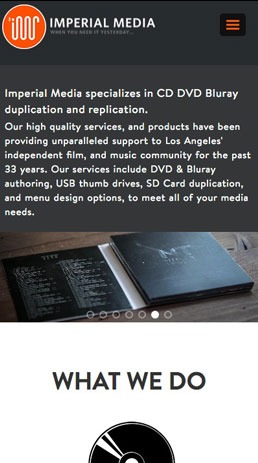 CoreCommerce Imperial Media Theme preview — Mobile