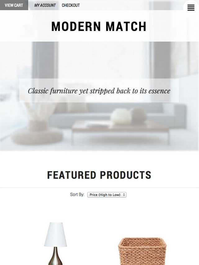 CoreCommerce Modern Match Ecommerce Theme preview — Tablet